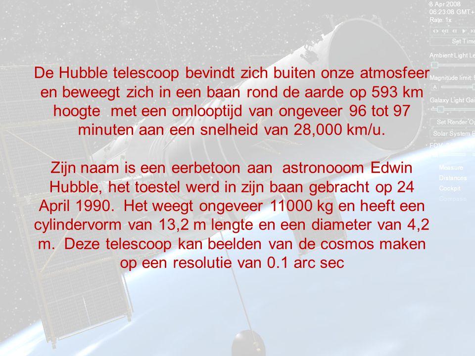 De Hubble telescoop bevindt zich buiten onze atmosfeer en beweegt zich in een baan rond de aarde op 593 km hoogte met een omlooptijd van ongeveer 96 tot 97 minuten aan een snelheid van 28,000 km/u.