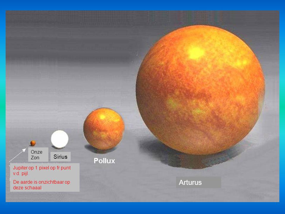 Arturus Sirius Onze Zon Jupiter op 1 pixel op fr punt v.d. pijl.