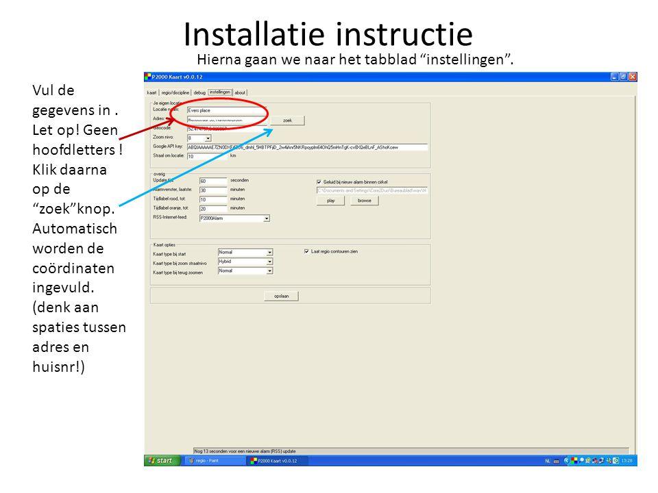 Installatie instructie