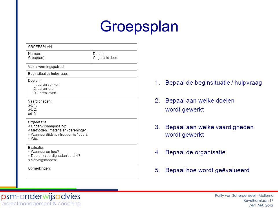 Groepsplan Bepaal de beginsituatie / hulpvraag