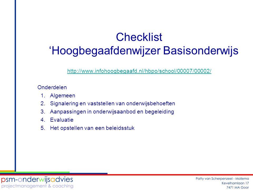 Checklist 'Hoogbegaafdenwijzer Basisonderwijs