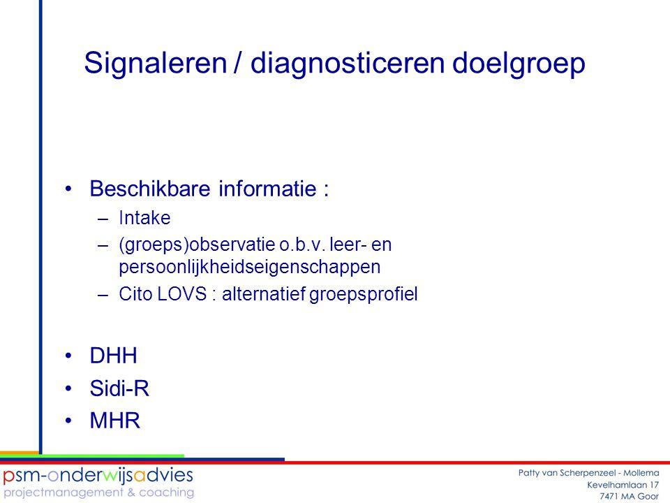Signaleren / diagnosticeren doelgroep
