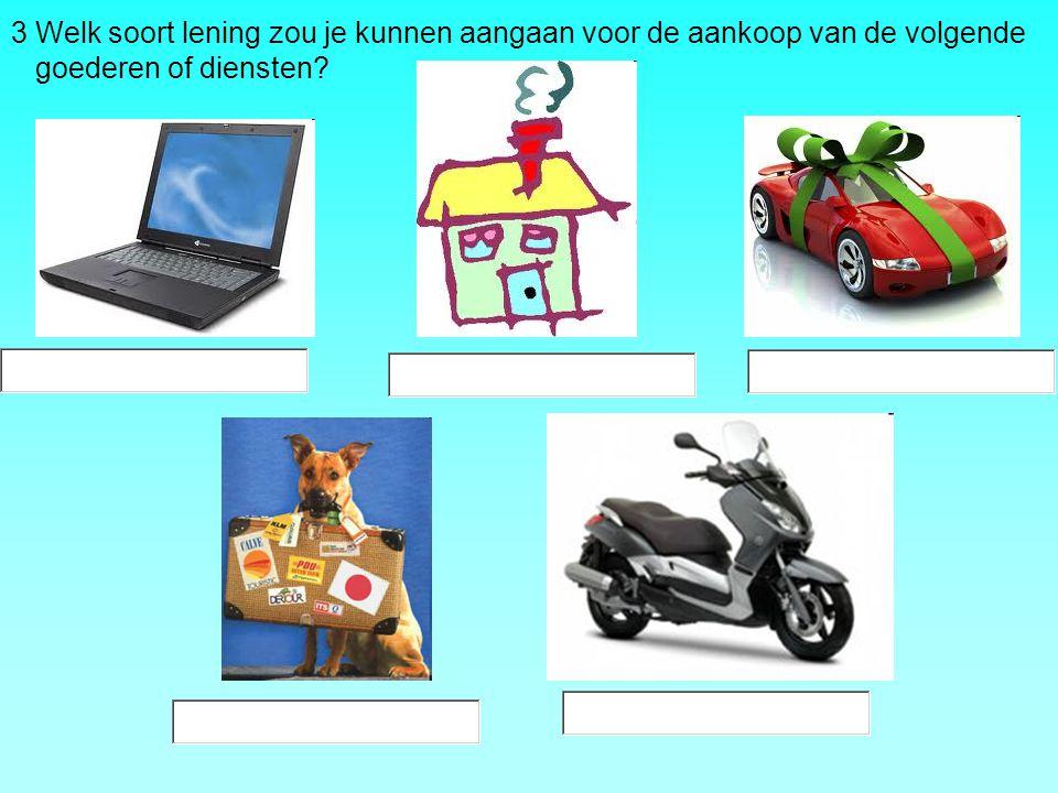 3 Welk soort lening zou je kunnen aangaan voor de aankoop van de volgende goederen of diensten