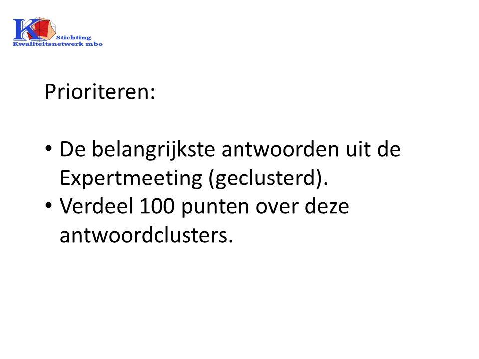 Prioriteren: De belangrijkste antwoorden uit de Expertmeeting (geclusterd).