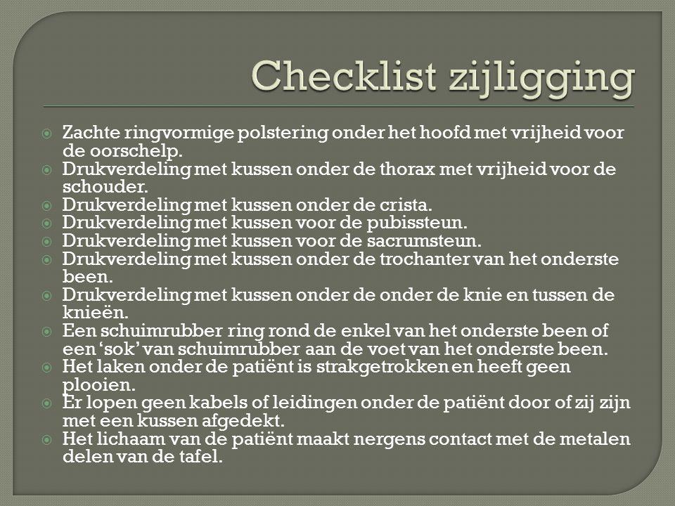 Checklist zijligging Zachte ringvormige polstering onder het hoofd met vrijheid voor de oorschelp.