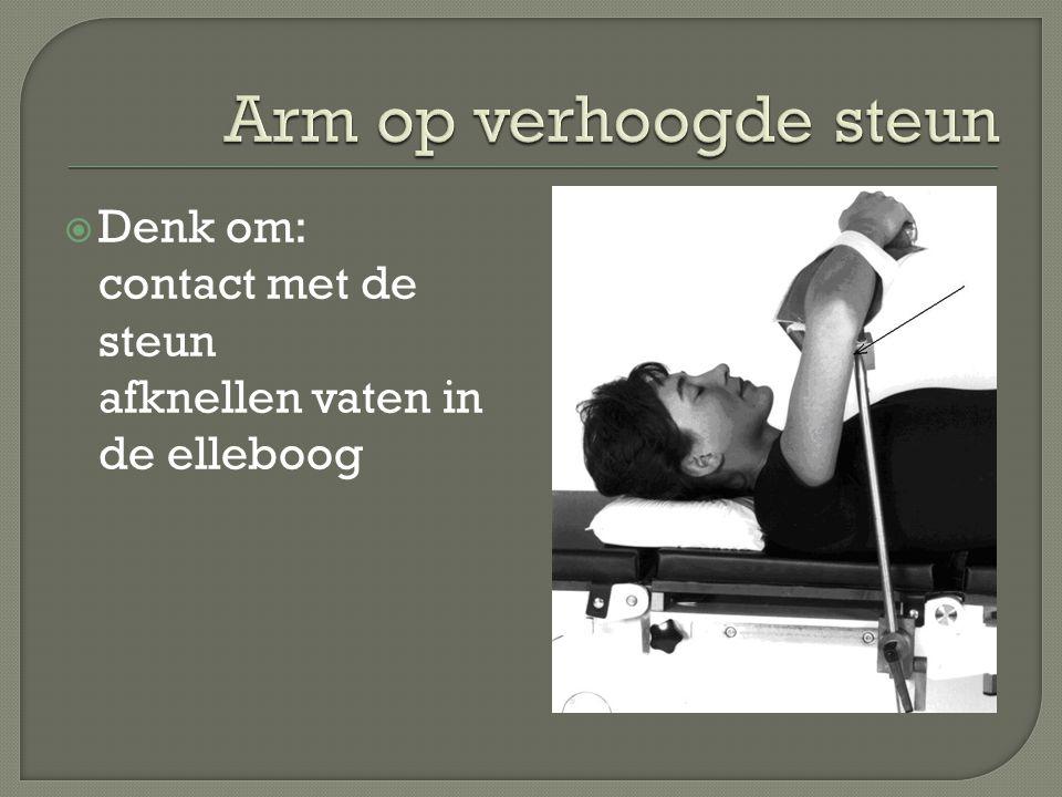 Arm op verhoogde steun Denk om: contact met de steun afknellen vaten in de elleboog