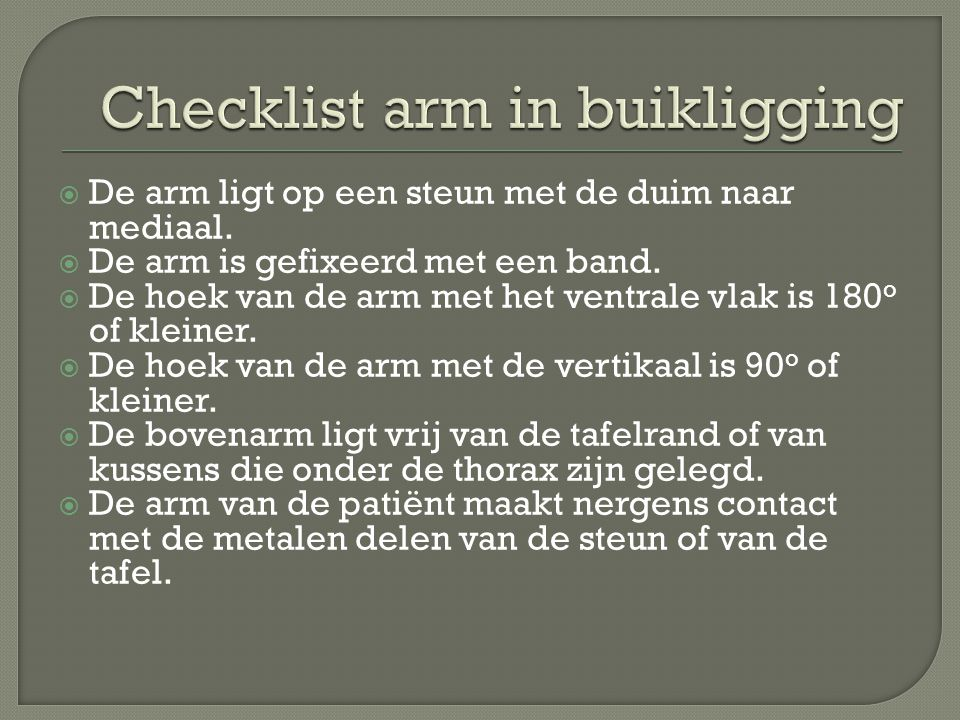 Checklist arm in buikligging