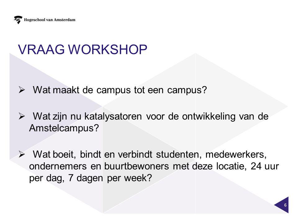Vraag workshop Wat maakt de campus tot een campus