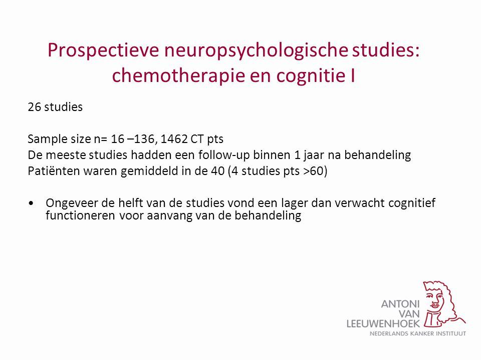 Prospectieve neuropsychologische studies: chemotherapie en cognitie I