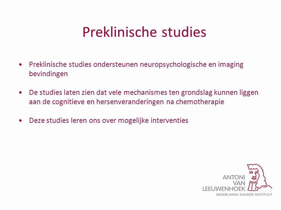 Preklinische studies Preklinische studies ondersteunen neuropsychologische en imaging bevindingen.