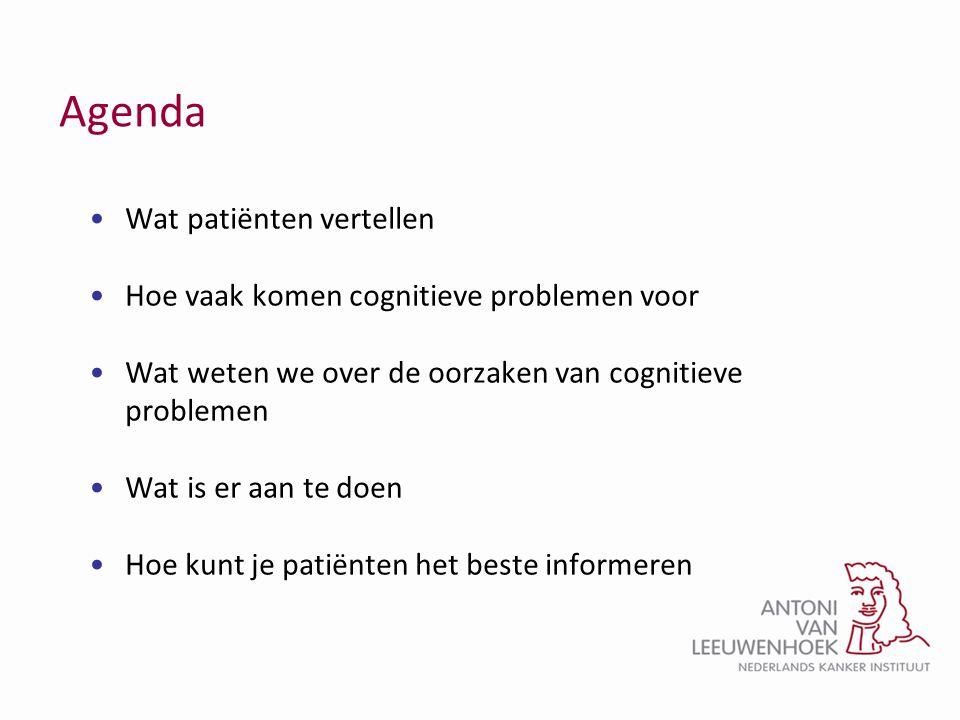 Agenda Wat patiënten vertellen