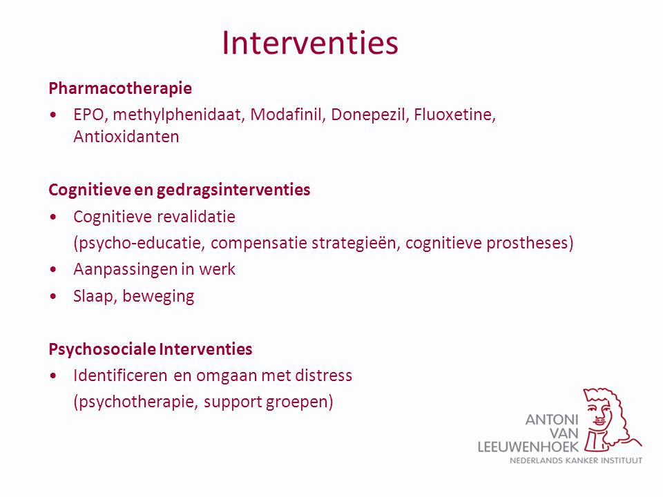 Interventies Pharmacotherapie