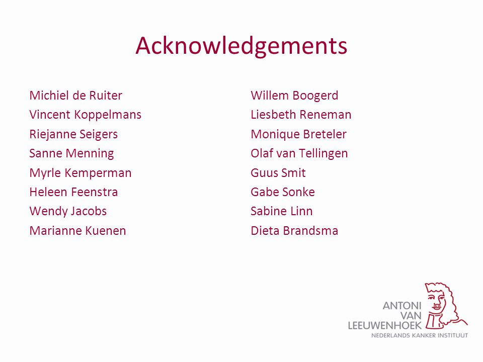 Acknowledgements Michiel de Ruiter Vincent Koppelmans Riejanne Seigers