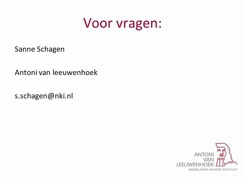 Voor vragen: Sanne Schagen Antoni van leeuwenhoek s.schagen@nki.nl