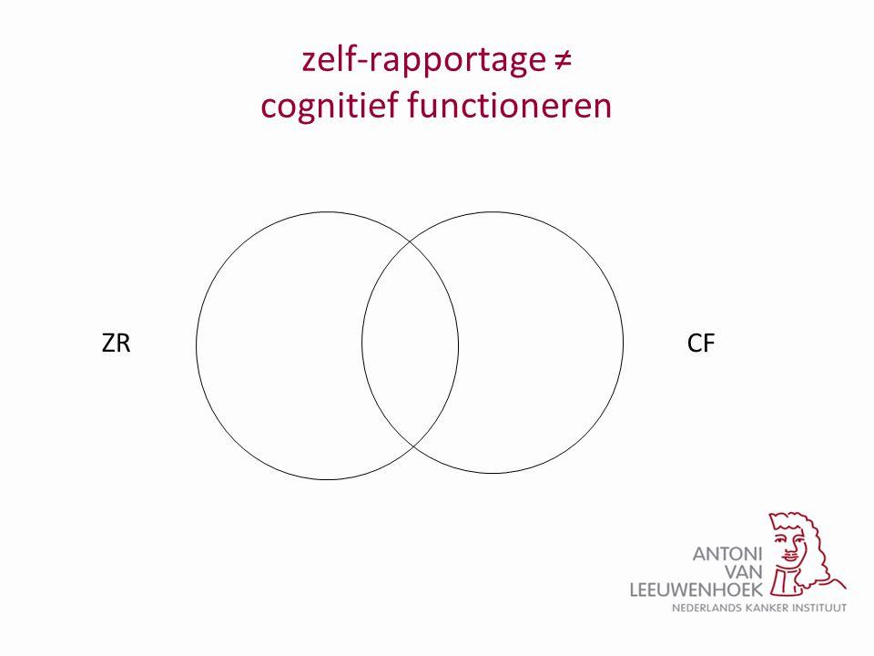 zelf-rapportage ≠ cognitief functioneren