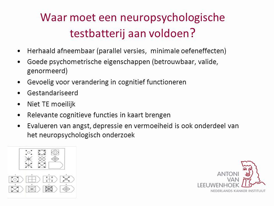 Waar moet een neuropsychologische testbatterij aan voldoen