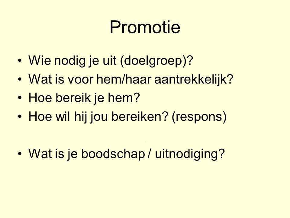Promotie Wie nodig je uit (doelgroep)