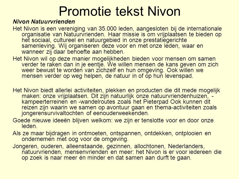 Promotie tekst Nivon Nivon Natuurvrienden