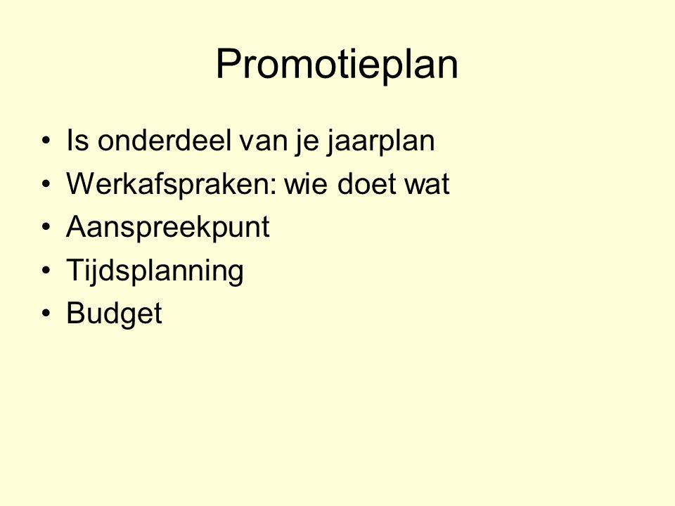 Promotieplan Is onderdeel van je jaarplan Werkafspraken: wie doet wat