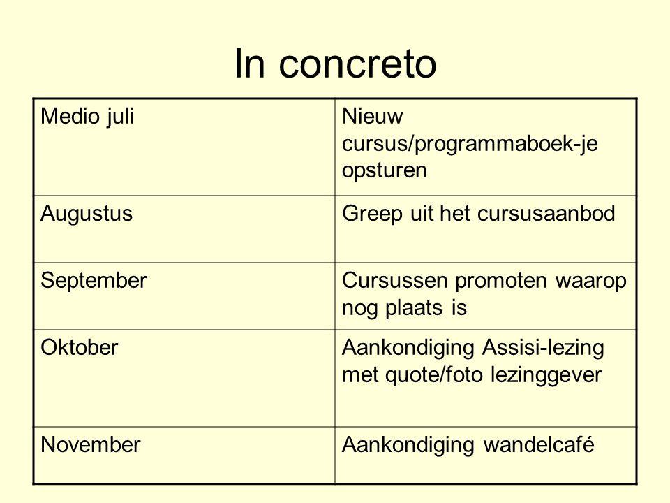 In concreto Medio juli Nieuw cursus/programmaboek-je opsturen Augustus