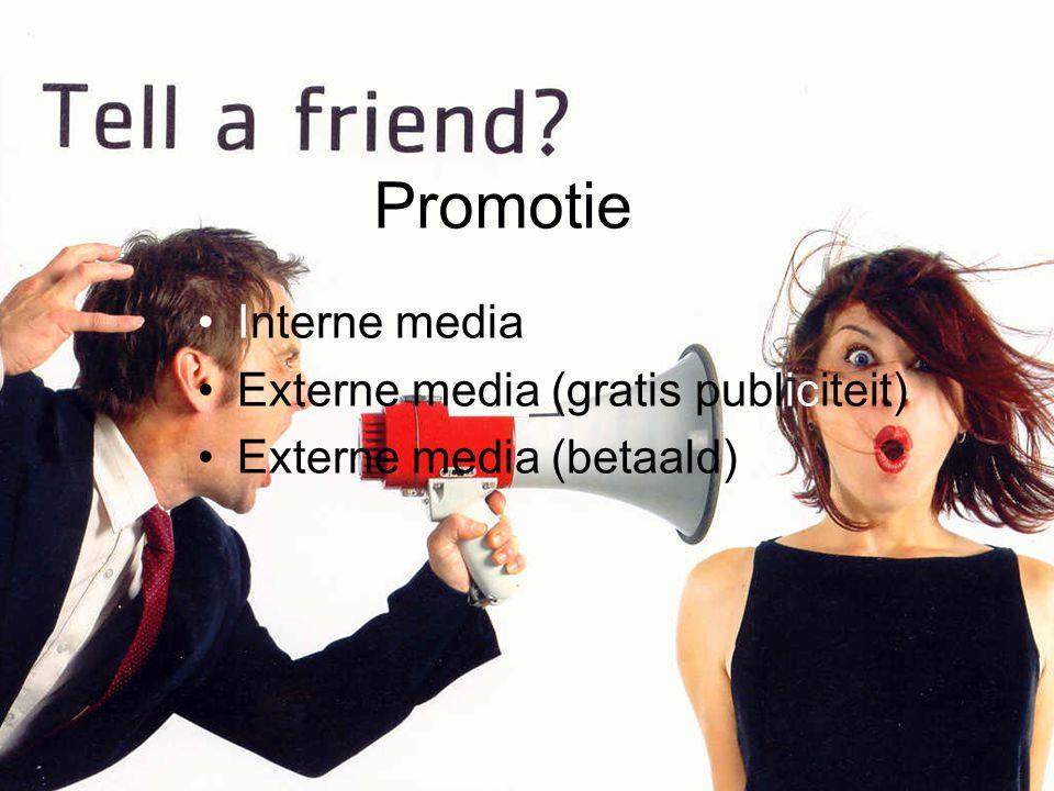 Promotie Interne media Externe media (gratis publiciteit)