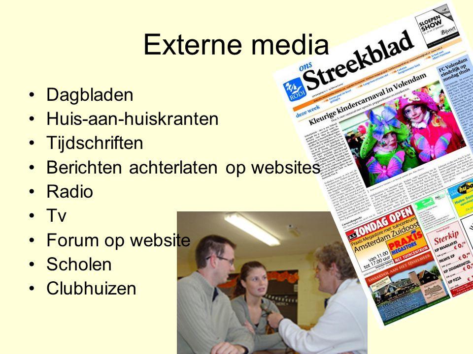 Externe media Dagbladen Huis-aan-huiskranten Tijdschriften