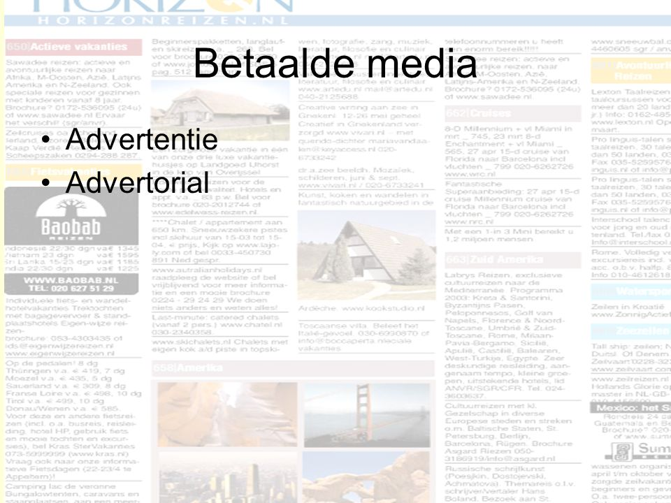 Betaalde media Advertentie Advertorial