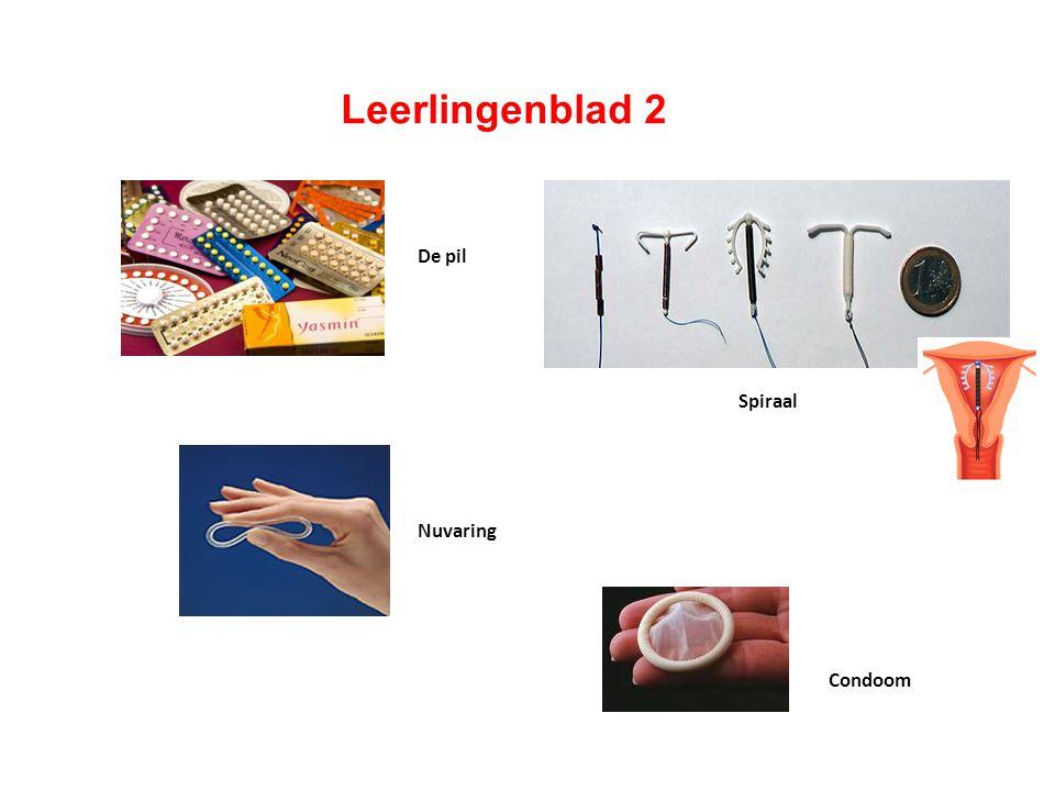 Leerlingenblad 2 . Middelen om niet zwanger te worden: De pil Spiraal