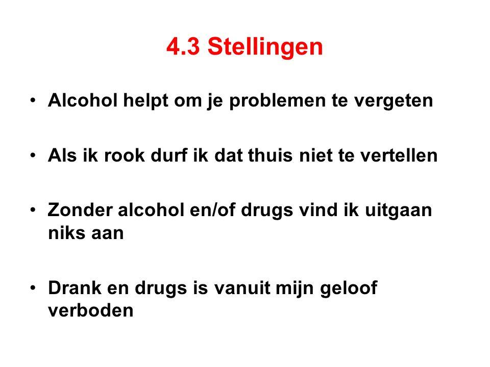 4.3 Stellingen Alcohol helpt om je problemen te vergeten