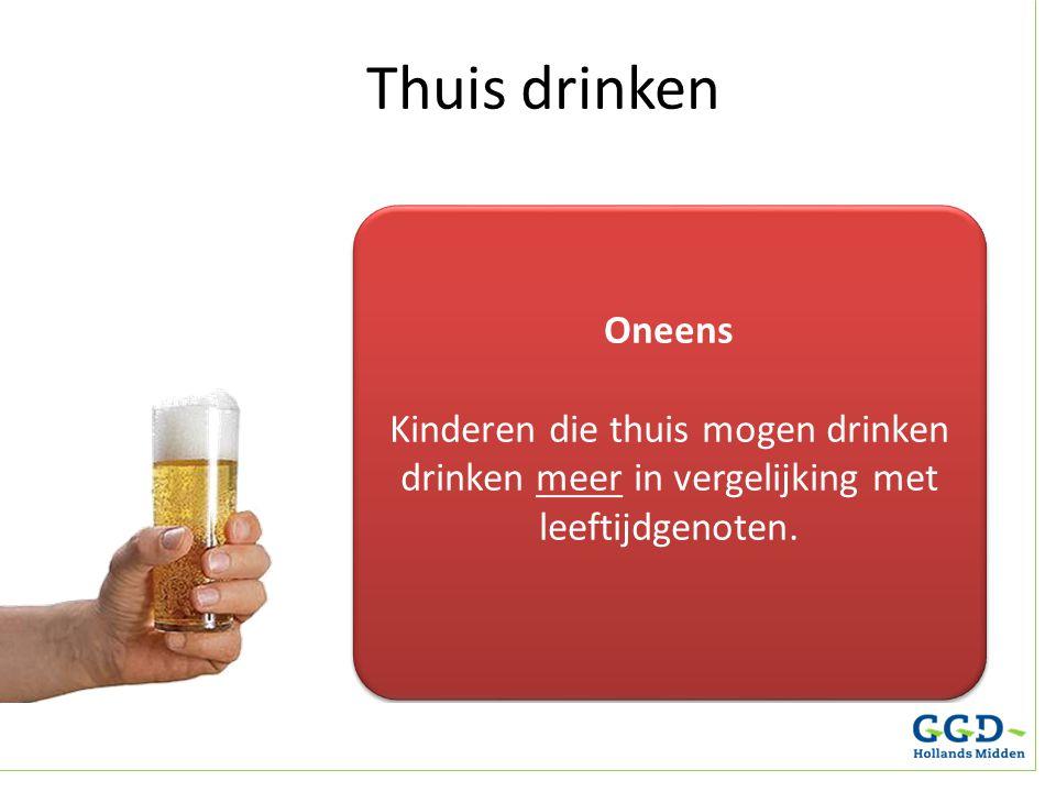 Thuis drinken Oneens. Kinderen die thuis mogen drinken drinken meer in vergelijking met leeftijdgenoten.