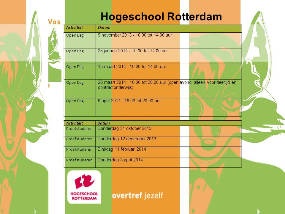 Hogeschool Rotterdam Activiteit Datum Open Dag