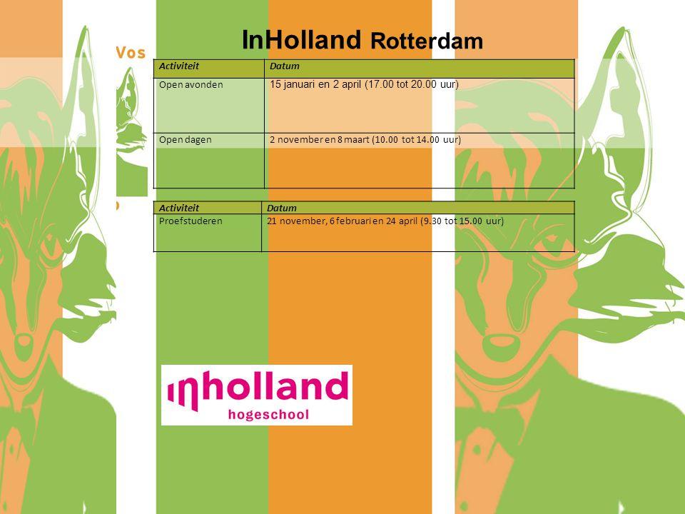 InHolland Rotterdam Activiteit Datum Open avonden