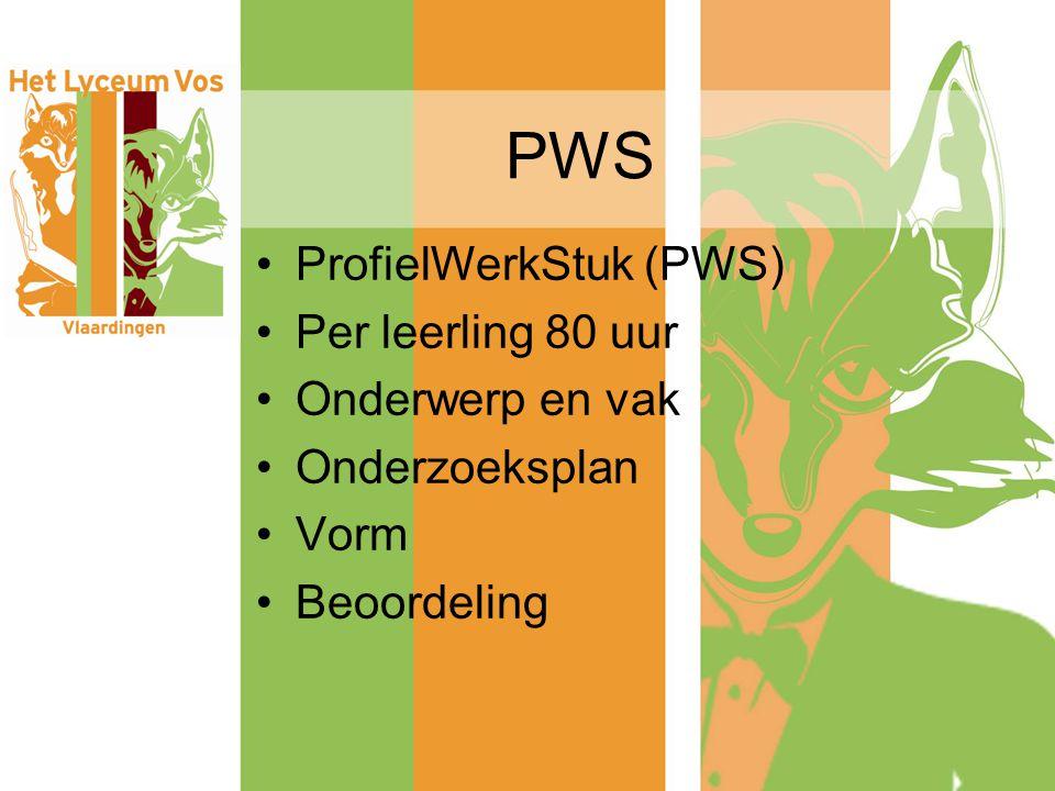 PWS ProfielWerkStuk (PWS) Per leerling 80 uur Onderwerp en vak