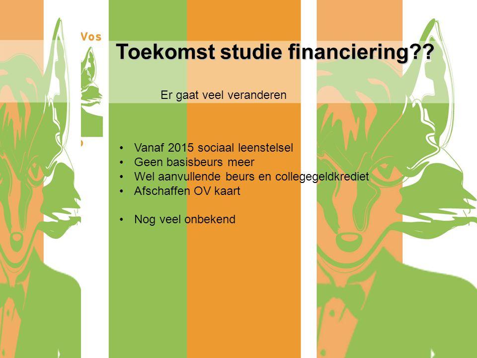 Toekomst studie financiering