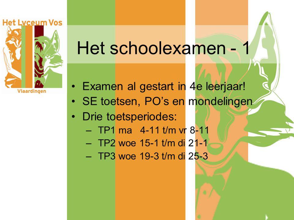 Het schoolexamen - 1 Examen al gestart in 4e leerjaar!