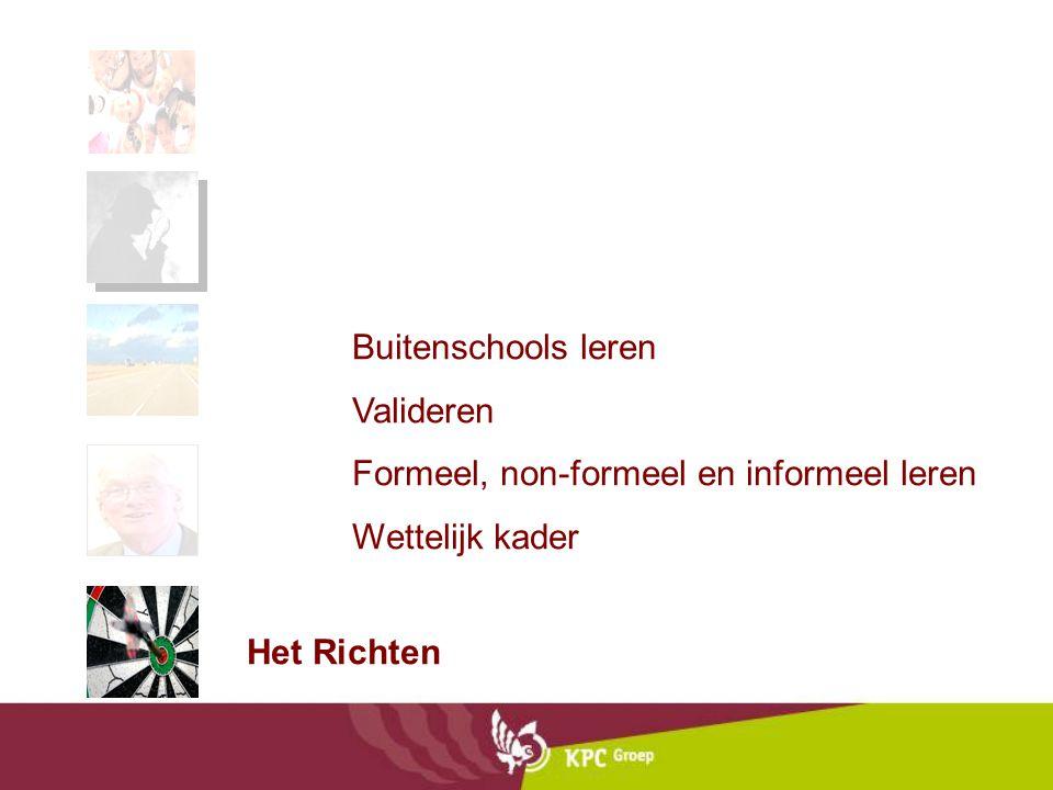 Buitenschools leren Valideren Formeel, non-formeel en informeel leren Wettelijk kader Het Richten