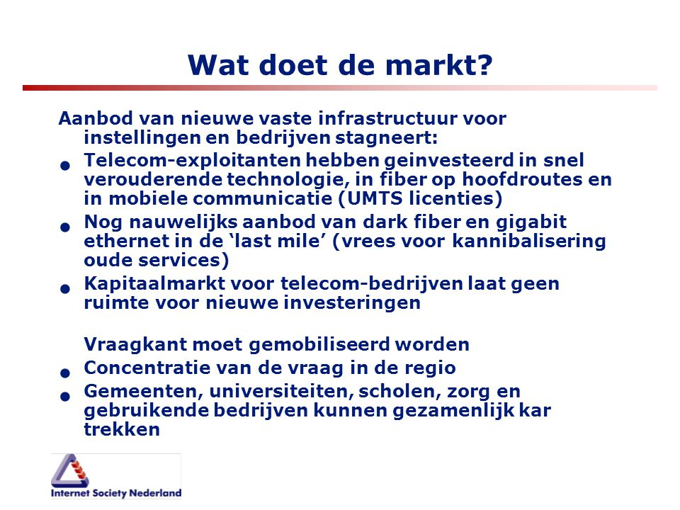 Wat doet de markt Aanbod van nieuwe vaste infrastructuur voor instellingen en bedrijven stagneert: