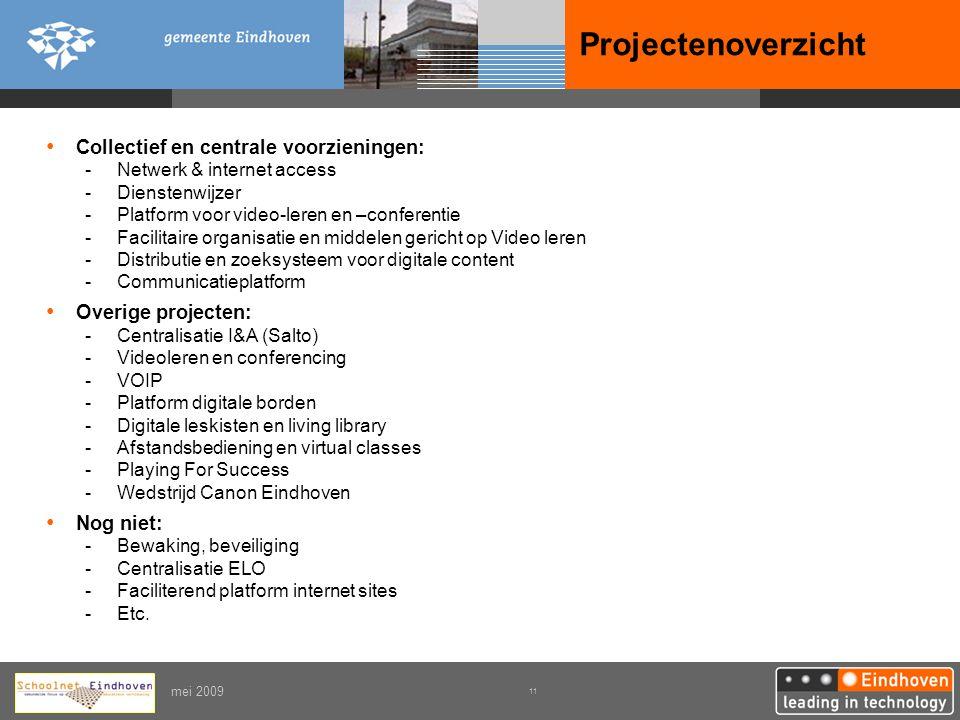 Projectenoverzicht Collectief en centrale voorzieningen:
