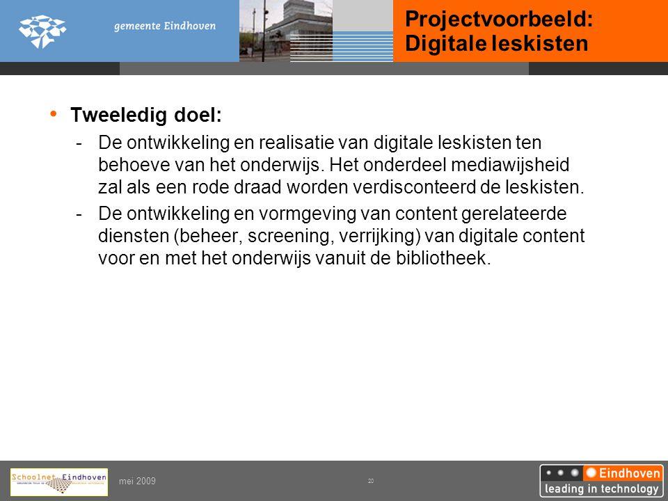 Projectvoorbeeld: Digitale leskisten