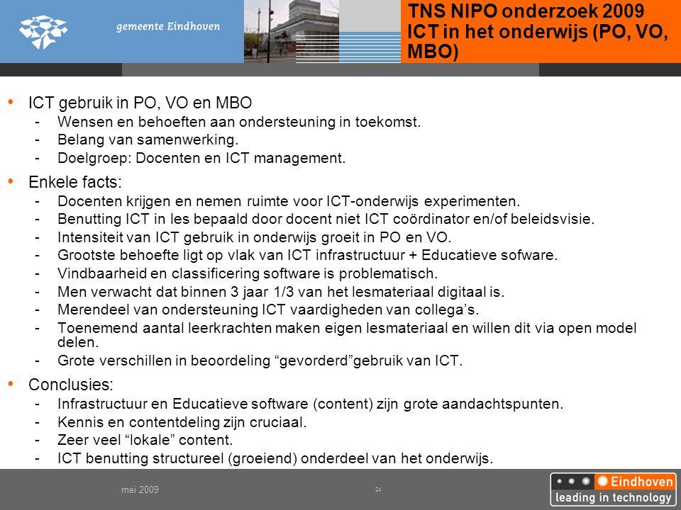 TNS NIPO onderzoek 2009 ICT in het onderwijs (PO, VO, MBO)
