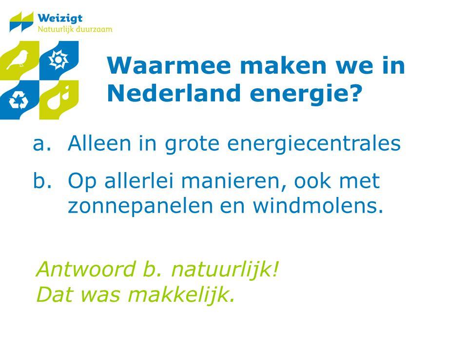 Waarmee maken we in Nederland energie