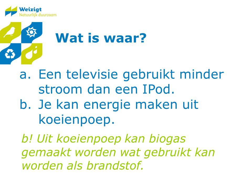 Een televisie gebruikt minder stroom dan een IPod.