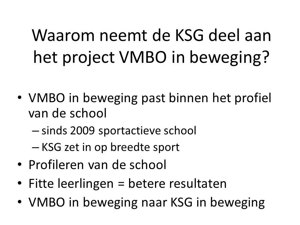 Waarom neemt de KSG deel aan het project VMBO in beweging