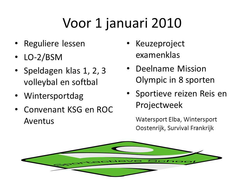 Voor 1 januari 2010 Reguliere lessen LO-2/BSM