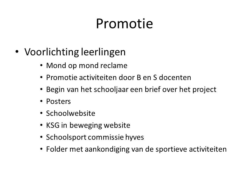Promotie Voorlichting leerlingen Mond op mond reclame