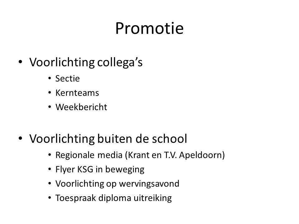 Promotie Voorlichting collega's Voorlichting buiten de school Sectie