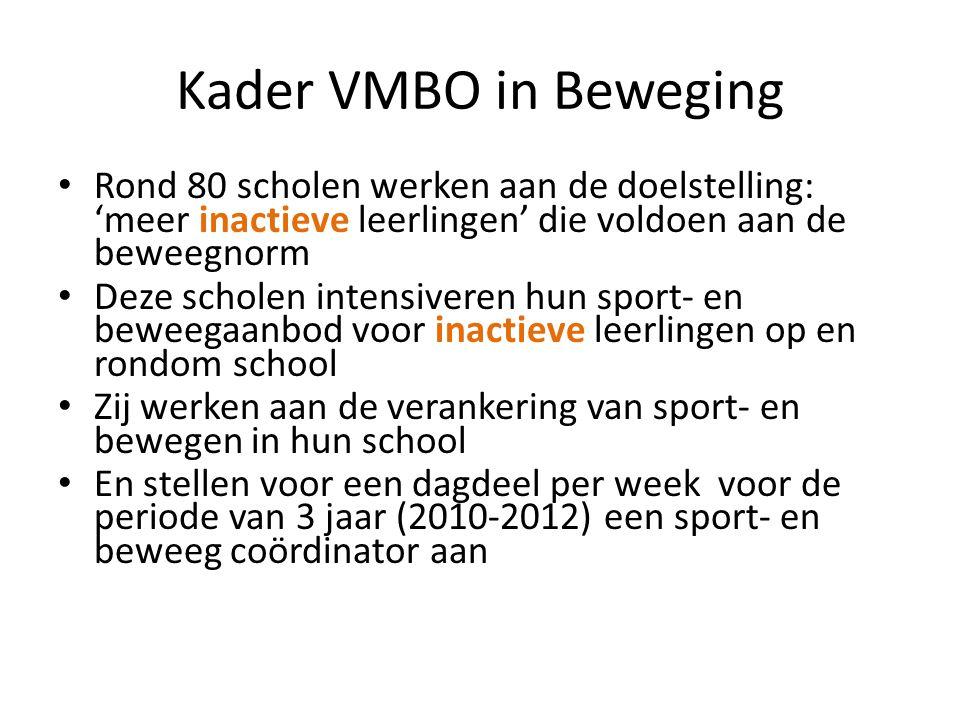 Kader VMBO in Beweging Rond 80 scholen werken aan de doelstelling: 'meer inactieve leerlingen' die voldoen aan de beweegnorm.