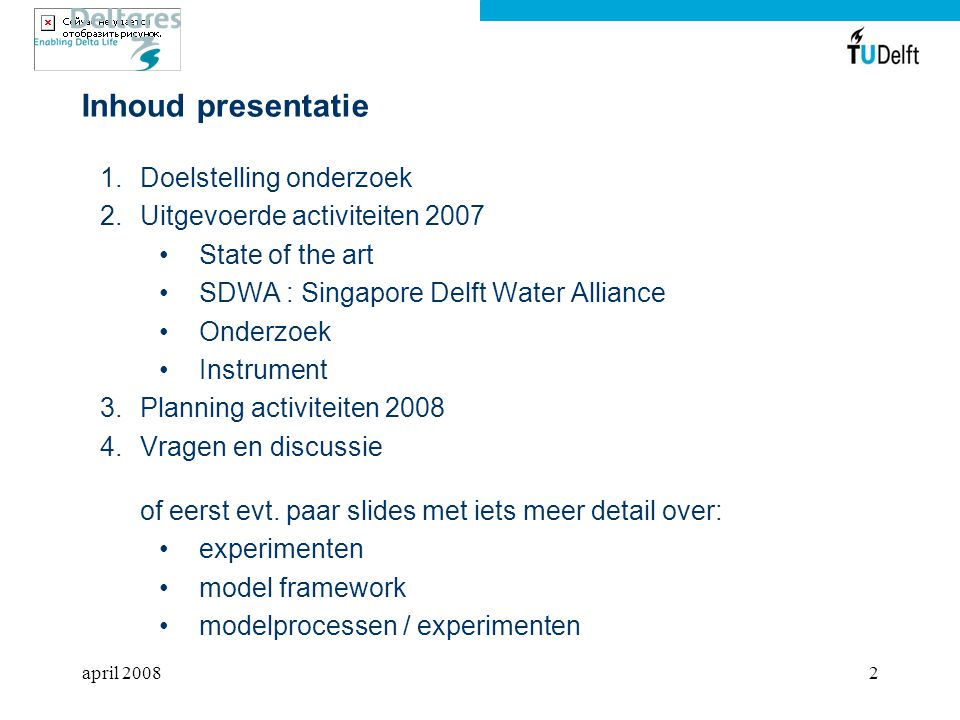 Inhoud presentatie Doelstelling onderzoek