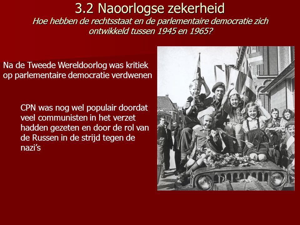 3.2 Naoorlogse zekerheid Hoe hebben de rechtsstaat en de parlementaire democratie zich ontwikkeld tussen 1945 en 1965