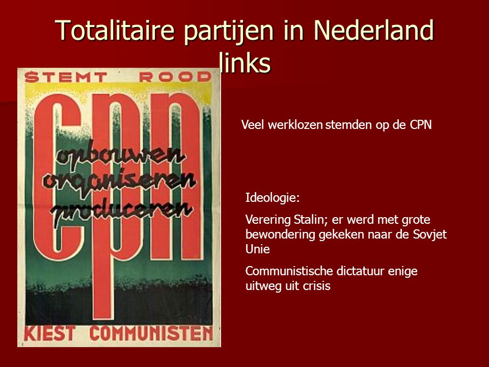 Totalitaire partijen in Nederland links